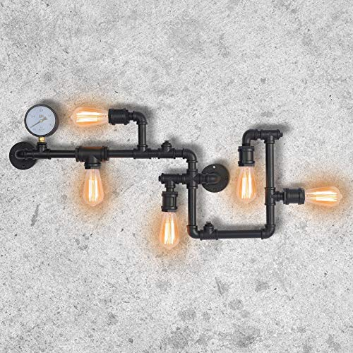 Industrial Vintage Wall Lights Fitting Retro Metal Lamp Rustic Water Pipe Wall Sconces Fixture for Home Decor Pub Cafe Hotel Steampunk Style Decoration with Copper Finish(Black)