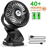 Battery Operated Clip Fan - Mini Portable Desk Fan with Rechargeable 4400mA Battery Powered Fan for Outdoor Activities (Max 40Hours)