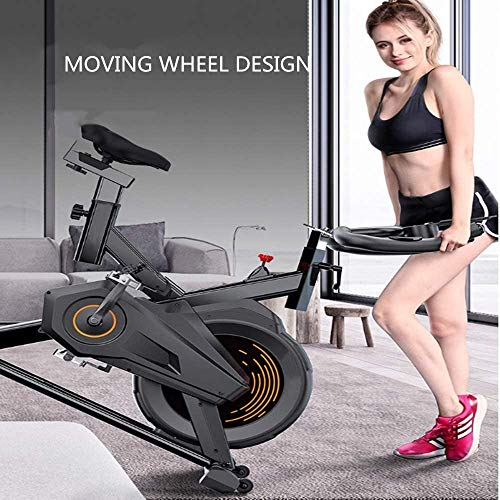 YFFSS Exercise Bike, Indoor Smart Exercise Bike, Home Silent Stationary Bike, Safety Non-Slip Pedal, with Moving Roller and Level Adjuster, Suitable for Offices, Gyms 2