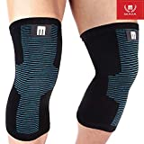 Mava Sports Knee Compression Sleeve Support for Men and Women - Perfect for Powerlifting, Weightlifting, Running, Gym Workout, CrossFit, Squats and Pain Relief (Black&Blue,Small)