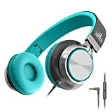 Artix CL750 Foldable Headphones with Microphone and Volume Control, On-Ear Stereo Earphones, Headset for Cellphones Tablets Smartphones Laptop Computer for Adults, Teens, Kids (Mint/Gray)