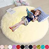 Pale Yellow Round Rug for Bedroom,Fluffy Circle Rug 4'X4' for Kids Room,Furry Carpet for Teen Girls Room,Shaggy Circular Rug for Nursery Room,Fuzzy Plush Rug for Dorm,Cute Room Decor for Baby
