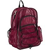 Eastsport XL Semi-Transparent Mesh Backpack with Comfort Padded Straps and Bungee, Sport Red