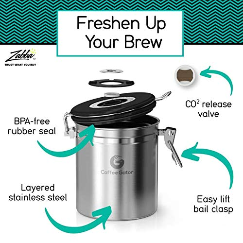 Product Image 5: Coffee Gator Stainless Steel Coffee Grounds and Beans Container Canister with Date-Tracker, CO2-Release Valve and Measuring Scoop, Large, Silver
