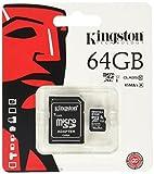 Kingston SDCX10/64GB Carte micro SDHC/SDXC Classe 10 UHS-I de 64Go vitesse...