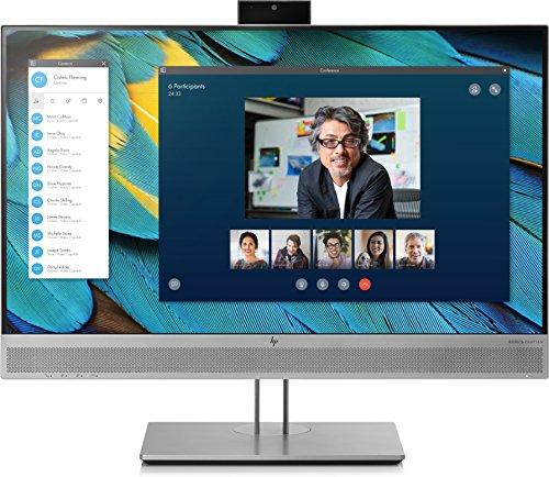HP - PC Elite Display E243m Monitor 23.8'', Casse Audio e Webcam Integrati, Display FHD IPS Antiriflesso, BrightView, Regolabile Altezza fino 150 mm, Pivoting 90°, DisplayPort, HDMI, VGA, Argento