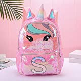 weichuang Mochila para niños con lentejuelas, gran capacidad, diseño de unicornio, para niñas, color rosa, mochila escolar para niños (color: rojo)