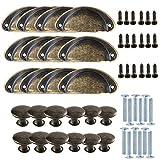 Aweisile Pomos y Tiradores Vintage Bronce 24 Piezas Tirador Perilla Aleación Vintage Furniture...