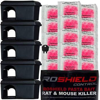 Roshield Mouse Control Black Bait Box Kit Includes Pasta Sachets - Safe Around Children & Pets