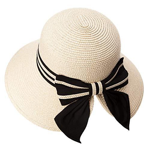 Comhats Damen Faltbarer Strohhut Sonnenhut UPF 50 + Sonnen Shade breite Krempe Beige Fancet