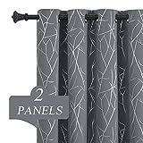 Estelar Textiler Grey Blackout Curtains for Living Room Bedroom 84 Inches Length 2 Panels Set Silver...