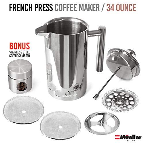 Mueller French Press Double Insulated 310 Stainless Steel Coffee Maker 4 Level Filtration System, No Coffee Grounds, Rust-Free, Dishwasher Safe 14