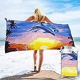 Lawenp Toalla de Playa de Secado rápido, Elegantes Toallas de baño Ligeras de Microfibra con Estampado de Delfines súper absorbentes para niños y Adultos 31.5 'X63'