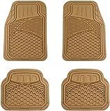 AmazonBasics 4 Piece Heavy Duty Rubber Car Floor Mat, Beige