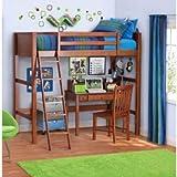 Your Zone Twin Wood Loft Style Bunk Bed Walnut (Walnut) (Twin, Walnut)