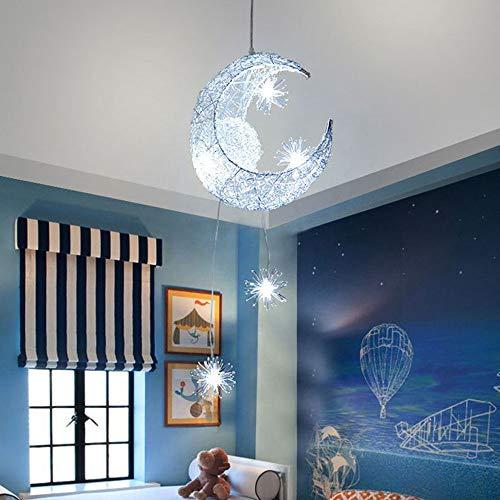 ALLOMN LED Suspension, Plafonnier Lampe de Fée Lune et étoiles Lustre de Chambre à Coucher Grand Cadeau Pour Enfant Ami (Blanc Froid)