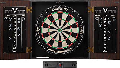 Viper Stadium Cabinet & Shot King Sisal/Bristle Dartboard Ready-to-Play Bundle: Standard Set (Shot King Dartboard, Darts and Throw Line)