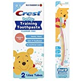 Crest & Oral-B Baby Toothbrush and Toothpaste Training Kit for Infant and Toddler Age 0-3, Fluoride-Free, (2) Gel Toothpastes 1.6 oz ea. + (4) Toothbrushes, Disney's Winnie the Pooh