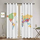 Homrkey Teen Room Decor Collection Bedroom Curtains Blackout Shades Multicolored High School Classroom World Map with Names of Countries Print Rustic Curtain W42 x L90 Inch Red Orange Blue