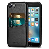 TENDLIN Compatible with iPhone 7 Case/iPhone 8 Case Wallet Design Premium Leather Case with 2 Card Holder Slots Compatible with iPhone 7 / iPhone 8 (Black)