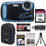Fujifilm FinePix XP140 Shock & Waterproof Wi-Fi Digital Camera (Sky Blue) with 32GB Card + Case + Mini Tripod + Reader + Kit