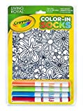 Living Royal Crayola Kid's Color-in Socks - Includes 1 Pair of Socks and 4 Fabric Markers (Floral Design)
