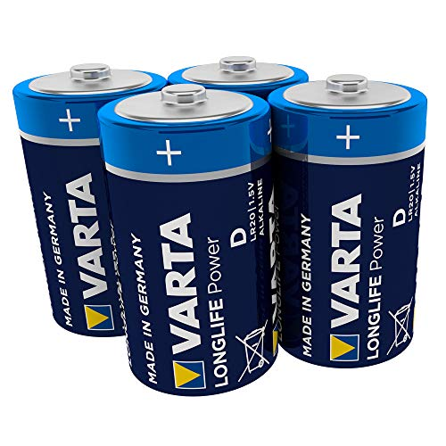 Varta 4920121414 Longlife Power (High Energy) Batteria Alcalina, Torcia D LR20, Confezione da 4 Pile...