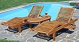 ASS 2X Hochwertige Teak Sonnenliege Gartenliege Strandliege Liegestuhl Holzliege Holz sehr robust - 2