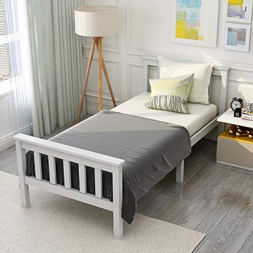 Letto singolo in legno massello 90x190 cm con rete a doghe, bianco avorio