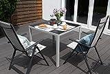 Vanage Aluminium Gartentisch in Grau mit Strukturierter Glasplatte in Schwarz – Gartenmöbel – Aluminiumtisch für Garten, Terrasse und Balkon Geeignet – 90 x 90 cm - 9