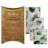 Halton PSC Bee Wrap   Lot de 3 Emballages Cire d'Abeille   Emballage Alimentaire écologique et Réutilisable   100% Bio et Naturel