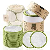 Coton Démaquillant Lavable Greenzla (lot de 20) avec sac à linge lavable et boite ronde pour le...