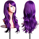 EmaxDesign Wigs 28 Inch Cosplay Wig For Women With Wig Cap and Comb (Dark Purple)