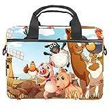 Cute Cartoon Animals Laptop Bag 13.5-14 pulgadas Laptop Case Maletín Ordenador Maletín Notebook Sleeve Bolso Ligero Messenger Escuela Trabajo Para Hombres Mujeres