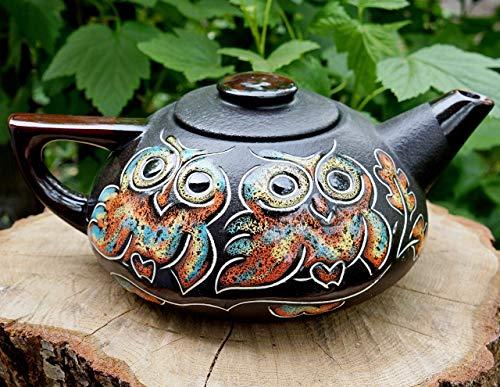 Handmade ceramic teapot 33.8 oz, Owl gifts, House warming kitchen gift for mom women, Pottery tea pot