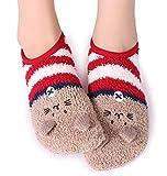 Pareberry Women's Thick Cute Animal Crew Warm Short Fuzzy Slipper Sock (Women Shoe Size(5-10), Cat)