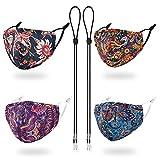 YUESUO Cloth Designer Reusable Face Mask Women Men Fancy Black Adjustable Lanyard Strap Clip,...