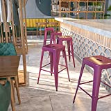 Flash Furniture Commercial Grade 30' High Backless Purple Indoor-Outdoor Barstool