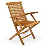 DIVERO 4er-Set Klappstuhl Teakstuhl Gartenstuhl Teak Holz Stuhl mit Armlehne für Terrasse Balkon - 2