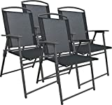VCM Set Gartenstuhl Stühle Stuhl Metall Textilene klappbar 4 Stühle Anthrazit