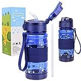 LAKIBOLE 13oz Kids Water Bottle with Straws, 380ml Tritan BPA Free Water Bottle for Kids Gift - Gypsophila