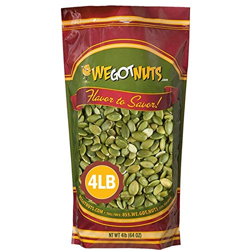 We Got Nuts Pumpkin Seeds Healthy Snacks 4 Lbs (64oz) Bag | Raw Pepitas No Preservatives Added, Non-GMO, 100% Natural With No Shell | For Baking, Salad Toppings, Cereal, Roasting | Low Calorie Nuts,