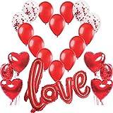 Jonami Décoration Romantique,1 Ballon Love XXL,6 Ballons Coeur Rouge,4 Ballons...