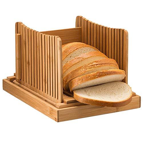 PUMYPOREITY Affettatrice Pane Bamb Tagliere in Legno per PaneTagliapasta Pieghevole Regolabile con Rassoio Raccogli Briciole per Pane Fatto in Casa, torte, bagel