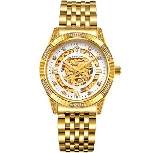 BINLUN Herren Uhren Analog Automatik mit 18k Vergoldet Edelstahl Armband Skelett Geschenk zum Valentinstag