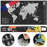 #benehacks Carte du Monde à gratter Poster Mural en GAULOIS - Décoration...