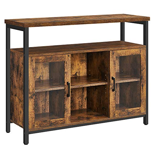 VASAGLE Sideboard, Buffet Table with 2 Transparent Glass Doors, TV Cabinet, with Adjustable Shelves, for Dining Room, 110 x 35 x 80 cm, Industrial Style, Rustic Brown and Black LSC095B01