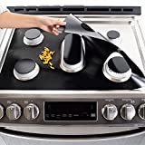 """Stove Burner Covers, Gas Stove Burner Covers for Samsung Gas Range, Reusable Non-Stick Stove Top Cover Liner Stove Liners Protector With 2 Pcs 25"""" Stove Gap Covers, 0.2 mm Double Thickness"""
