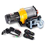 RUGCEL Winch 12V Electric ATV Winch 2 Remote Wireles Control Steel Cable Boat ATV Kit (3500 LBS)