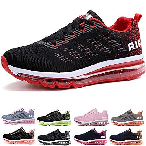 frysen Herren Damen Sportschuhe Laufschuhe mit Luftpolster Turnschuhe Profilsohle Sneakers Leichte Schuhe Black Red 39